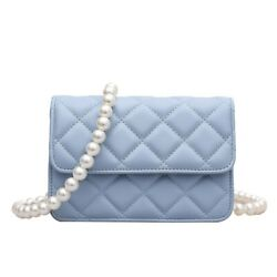 Quilted Pearl Strap Square Crossbody Bag Women#x27;s Diamond Leather Small Bags $26.15
