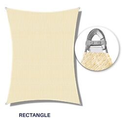 Beige 16-22ft Heavy Duty Steel Wire Cable Sun Shade Sail Canopy Patio Pool