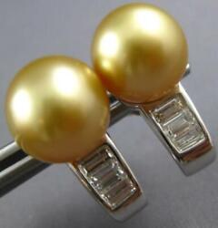 Estate Large .60ct Diamond And Aaa Golden South Sea Pearl 18kt White Gold Earrings