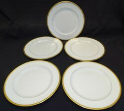 Royal Doulton England E4187 Set Of 5 Dinner Plates 10 3/8 Gold Fish Scale