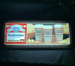 """1970's Vintage Budweiser Beer Wagon And Clydesdales Popcorn And Beer Sign 33""""x14""""x4"""""""