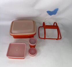 Vtg Pack N Go 5 Pc. Lunch Box Tupperware Red/orange Snack Sandwich Container Set
