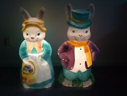 Vtg Empire 34 Large Mr And Mrs Easter Bunny Blow Mold Set Light Up Tested Look