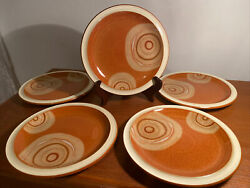 Denby Fire Chilli 5 Salad Plates 8 7/8 Inches England Stoneware