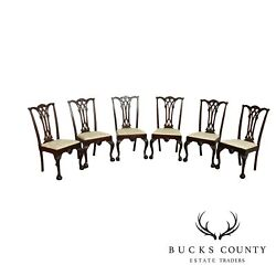 Centennial Period Antique Set 6 Mahogany Chippendale Style Dining Chairs