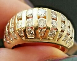 2tcw Vintage Quality Round Cannel Diamond 14k Yellow Gold Ring/band