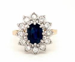 Large Sapphire And Diamond Cluster Ring 18ct Yellow And White Gold