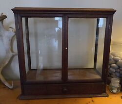 Rare Antique Glass And Wood Display Case Box With Drawer