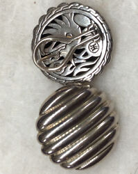 John Hardy Silver Earrings Round Clip With Post 14 G 1 Inch Around