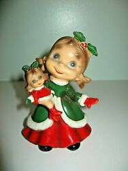 Vintage Josef Originals Wee Folks Holiday Christmas Little Girl With Dolly Rare