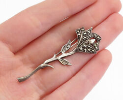 925 Sterling Silver - Vintage Marcasite Decorated Flower Brooch Pin - Bp1763