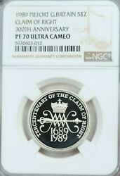 1989 Great Britain Silver 2 Pounds Piefort Claim Of Right Ngc Pf 70 Ultra Cameo