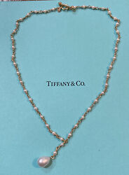 And Co. 18k Yellow Gold Pearl Pendant Toggle Clasp Necklace