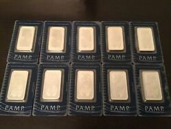 """Pamp Suisse 1oz Lady Fortuna Fine Silver Bars """"10x Total Package Lot"""" 100 Real"""