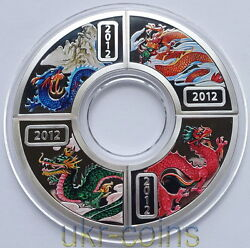 2012 Cook Islands Lunar Fan Year Of The Dragon 4-coin Silver Proof Color Set