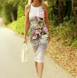 Ted Baker Pink Peony Striped Bodycon Laya Floral Mid Maxi Stretch Dress 3 Uk 12