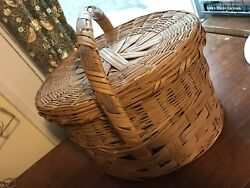 Large Vintage Woven Wicker Round Lidded Easter Sewing Basket 9 X 14 Lid Pink