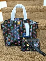 Dooney And Bourke Black🌈 Signature Db Logo Domed Satchel W/ Wristlet And Wallet
