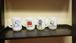 4 Vintage Fire King Anchor Hocking Donald Duck And Snoopy Milk Glass Mugs