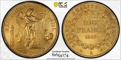 1882-a France Writing Angel 100 Francs Gold Coin Pcgs Au Details Cleaning.