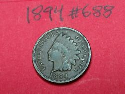 1894 - Us Indian Head Cent Penny 688
