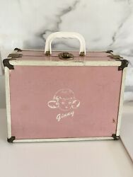 Rare Vtg Vogue Ginny Doll Pink Metal Doll Steamer Trunk Carrying Clothes Case