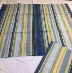2 Pottery Barn Stripe Greens And Blues Pillow Shams Standard Size 100 Cotton 3