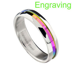 5mm Stainless Steel Unisex Lesbian Gay Pride Wedding Band Rainbow Color Ring