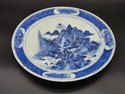 Antique Chinese Kangxi Blue And White Mountain Landscape Large Platter