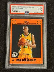 Kevin Durant 2007 Topps Rookie Card Orange Psa 9