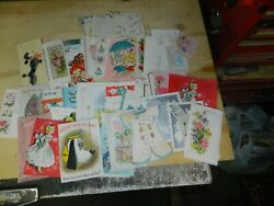 Vintage Greeting Card Lot Of 66.b-day,valentines,graduation 1940's/50 New And Used