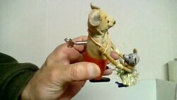 Vintage German Shuco Mouse And Little Mouse Wind-up 4 In.