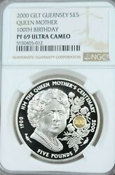 2000 Guernsey Silver 5 Pounds Queen Mother 100th Birthday Ngc Pf 69 Ultra Cameo