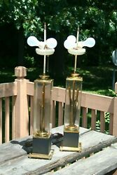 2 Vintage Mid Century Modern Brass Cat Tail 3 Bulb Table Lamps