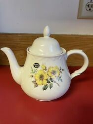 New Vintage Arthur Wood Ivory Teapot With Yellow Flowers Made In England