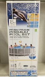 Intex 15ft X 48in Prism Above Ground Swimming Pool Set With Pump Ladder Cover