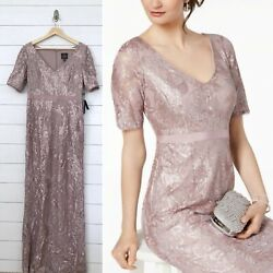 NWT $229 Adrianna Papell Purple Lace Evening Dress Gown 8 Mother of Bride Groom $48.85