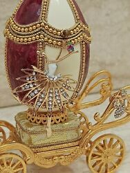 Bride Carriage Bridal Shower Engagment Gift For Bride Faberge Music Box 24k Gold