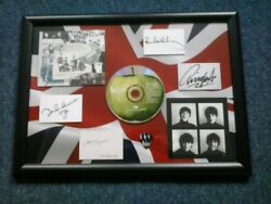 The Beatles Anthology Album - Framed Cd And Guitar Plectrum And Facsimile Autographs