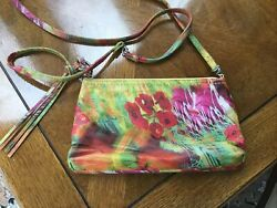 Small Floral Leather Hobo International Handbag $50.00