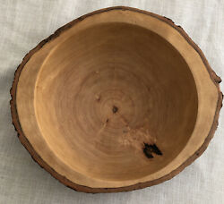"""Early American Old Tree Trunk Hand Carved Redwood 12"""" Bowl"""