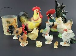 Set Of 11 Rooster And Chick Figurines And One Small Tin- Some Bone China Figurines