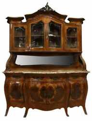 Sideboard Bombe Display Cabinet Fine Italian Marquetry Early 1900and039s Vintage