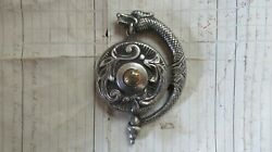 Gothic Antique Brass Silver Electric Doorbell Push - Mythical Griffin Dragon