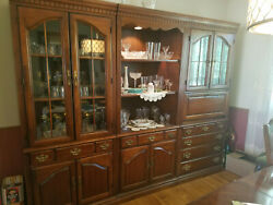 Vtg Hooker 3 Pc Lighted Wall Unit w Bar Storage Cabinet Wood Glass Local Pick Up