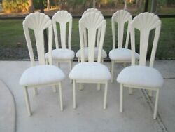 Vintage Ivory Lacquered High Back Chair Upholstered Seat By Carol Ann Ltee