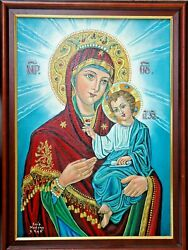 Virgin Mary And Jesus, Icon / Painting – Oil On Canvas. Ic-003