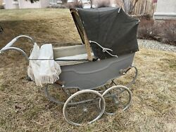 Antique Vintage 1940andrsquos Silver Cross Coach Pram Baby Carriage Stroller England