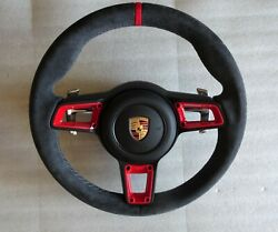 Porsche 991 997. Gt3 Rs Pdk Alcantara Gt Steering Wheel Stitch Inserts Top And Ab