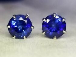 Gorgeous Vintage Blue Sapphire Studs Earrings 3.42ct 14k White Gold